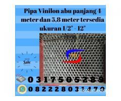 """pipa vinilon abu panjang 4 meter dan 5,8 meter tersedia ukuran 1/2"""" - 12"""""""